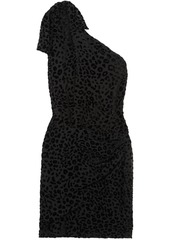 Iro Woman Moon One-shoulder Devoré-velvet Mini Dress Black