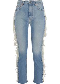 Iro Woman Movement Fringe-trimmed High-rise Straight-leg Jeans Light Denim