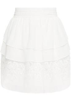 Iro Woman Mugue Tiered Macramé-paneled Pleated Georgette Mini Skirt White