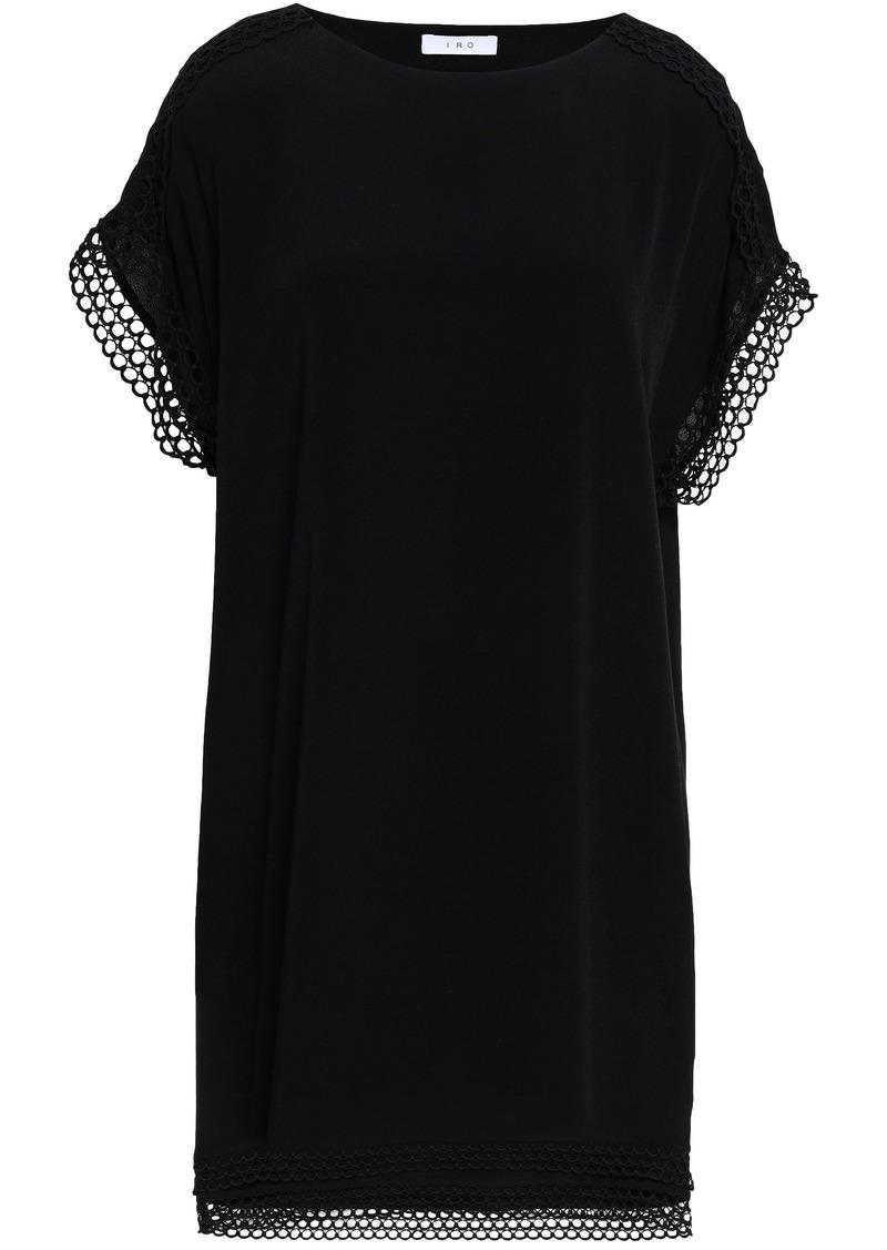 Iro Woman Mulla Macramé-trimmed Crepe De Chine Mini Dress Black