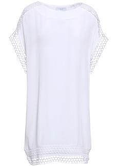 Iro Woman Mulla Open Knit-trimmed Crepe De Chine Mini Dress White