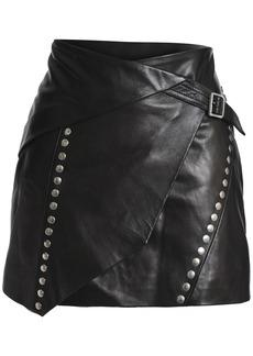 Iro Woman Mupper Wrap-effect Studded Leather Mini Skirt Black