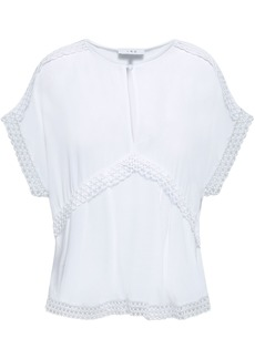 Iro Woman Murilla Guipure Lace-trimmed Crepe De Chine Top White