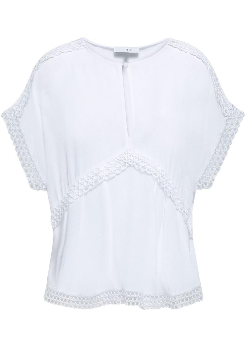 Iro Woman Murilla Guipure Lace-trimmed Crepe De Chine Top White