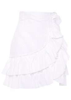 Iro Woman Musk Ruffled Linen And Cotton-blend Mini Skirt White