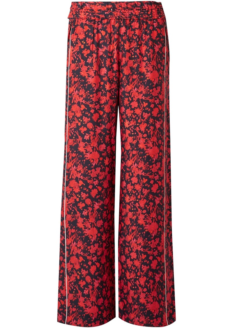 Iro Woman Mystery Floral-print Satin Wide-leg Pants Red
