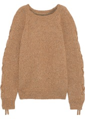 Iro Woman Mystic Cold-shoulder Lace-up Alpaca-blend Sweater Tan