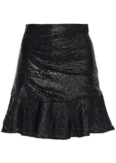 Iro Woman Nako Fluted Sequined Crepe De Chine Mini Skirt Black