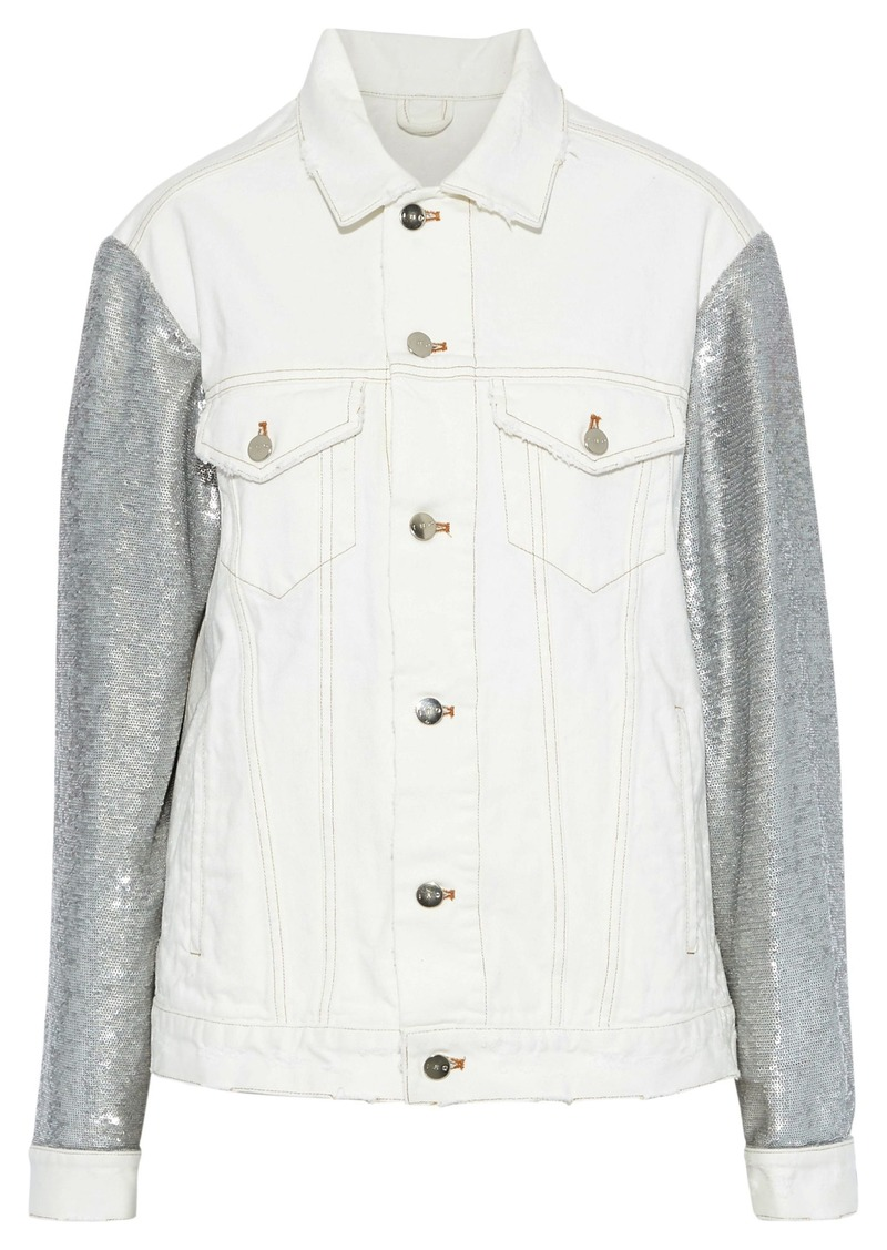 Iro Woman Nanopo Sequin-paneled Denim Jacket White