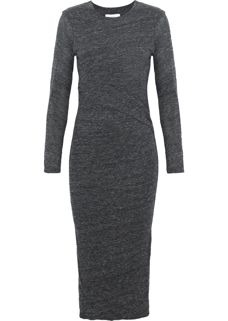 Iro Woman Napinka Mélange Cotton And Modal-blend Jersey Dress Dark Gray