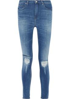 Iro Woman Nevada Distressed High-rise Skinny Jeans Mid Denim