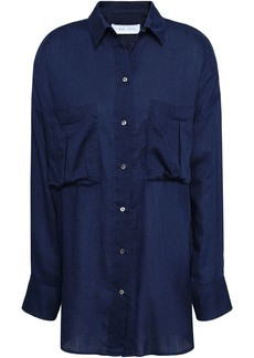 Iro Woman Nevin Cotton-chambray Shirt Navy