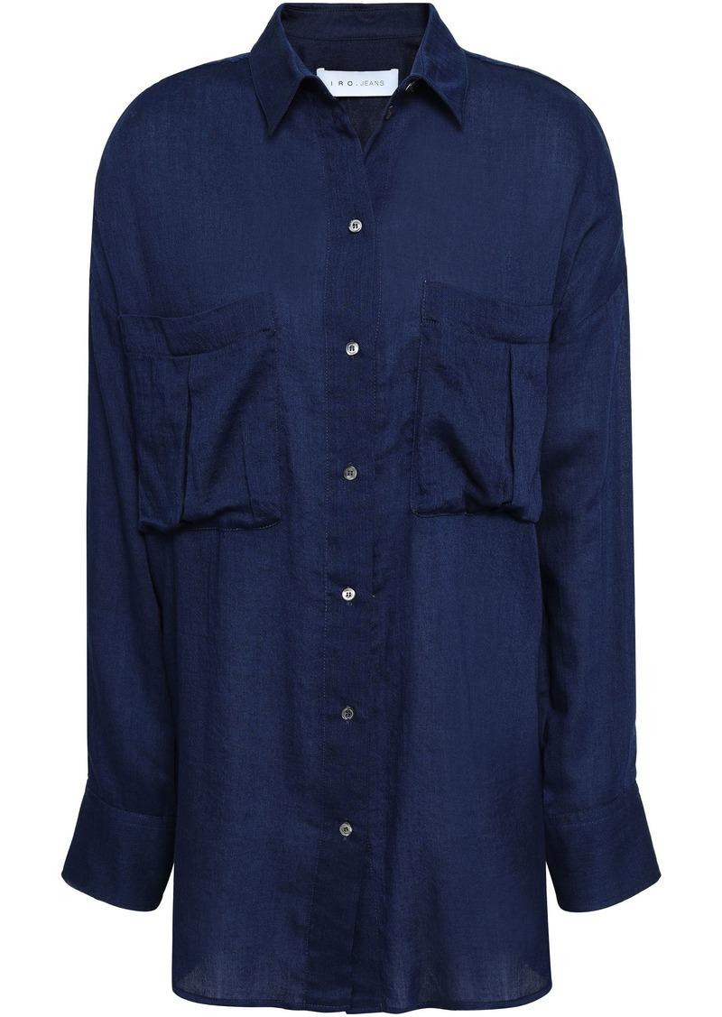Iro Woman Nevin Cotton-chambray Shirt Navy