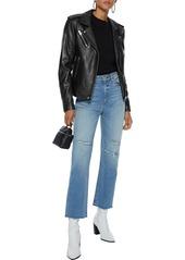 Iro Woman Newhan Washed-leather Biker Jacket Black