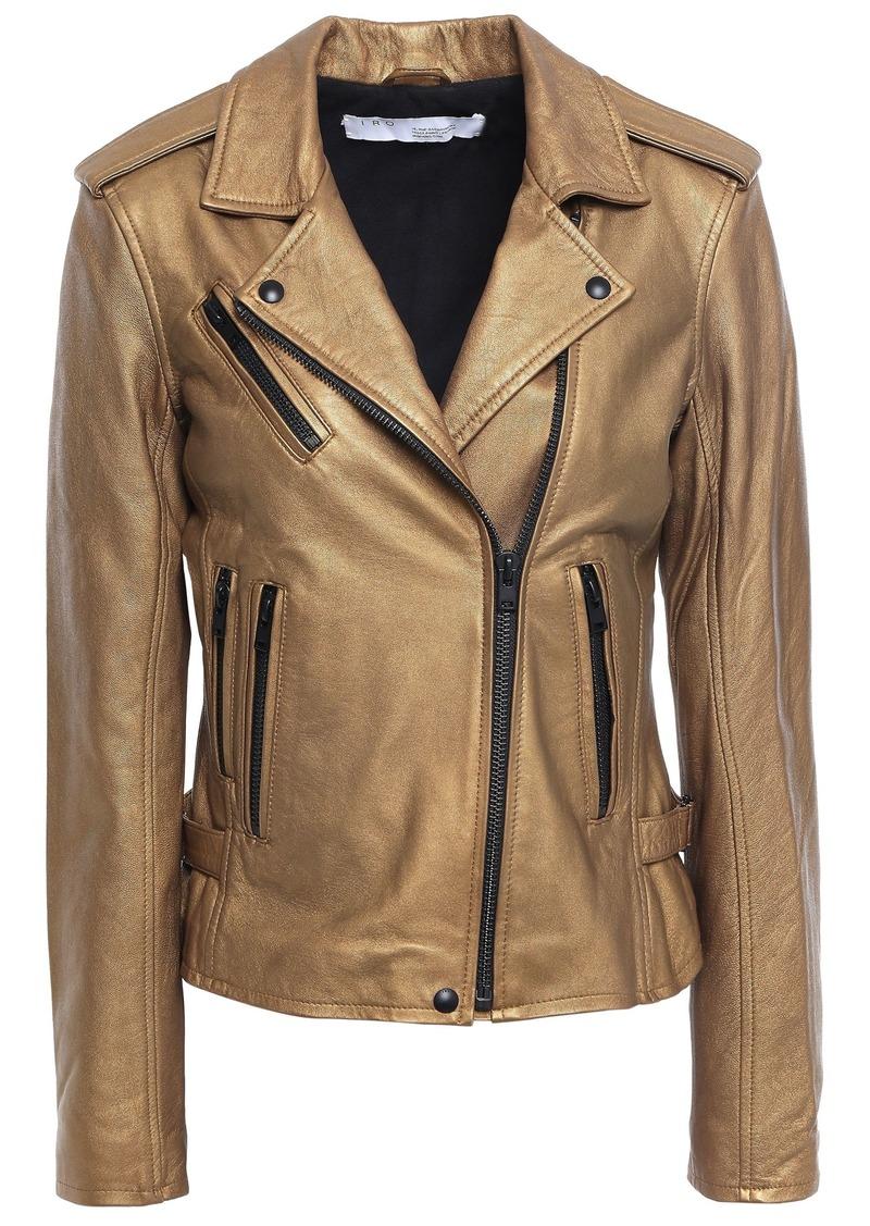 Iro Woman Newhan Washed-leather Biker Jacket Bronze