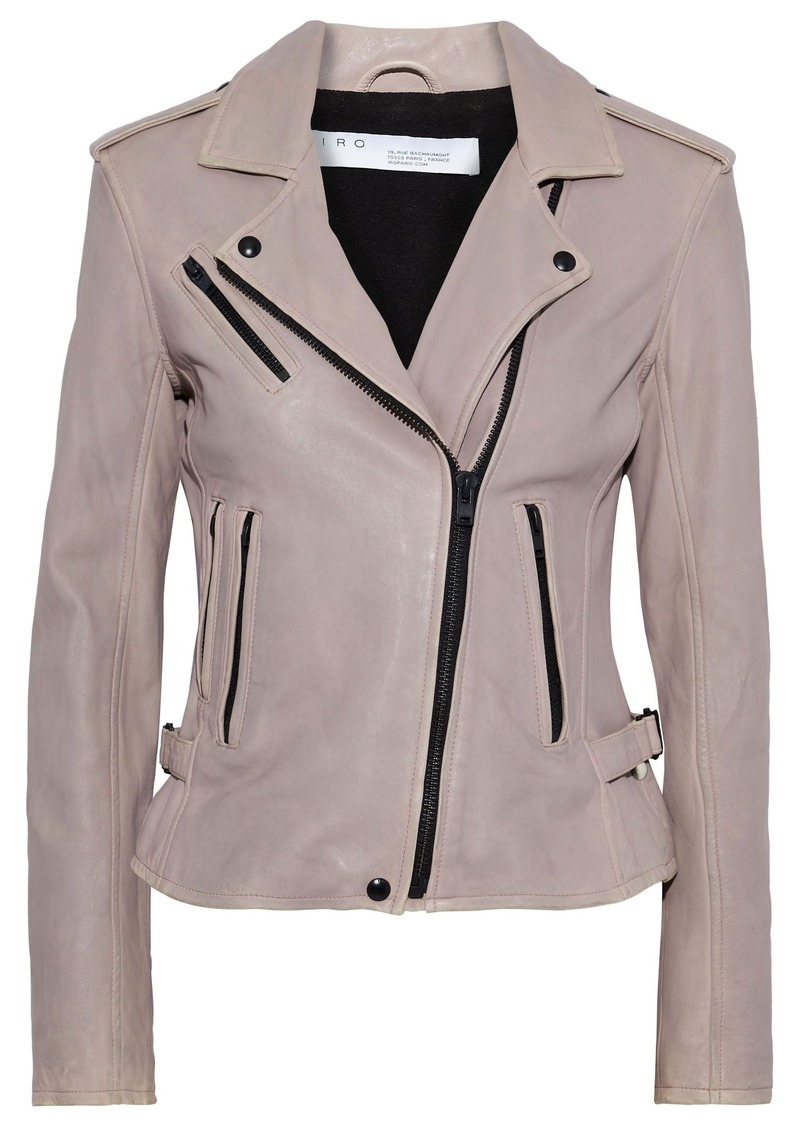 Iro Woman Newhan Washed-leather Biker Jacket Lilac