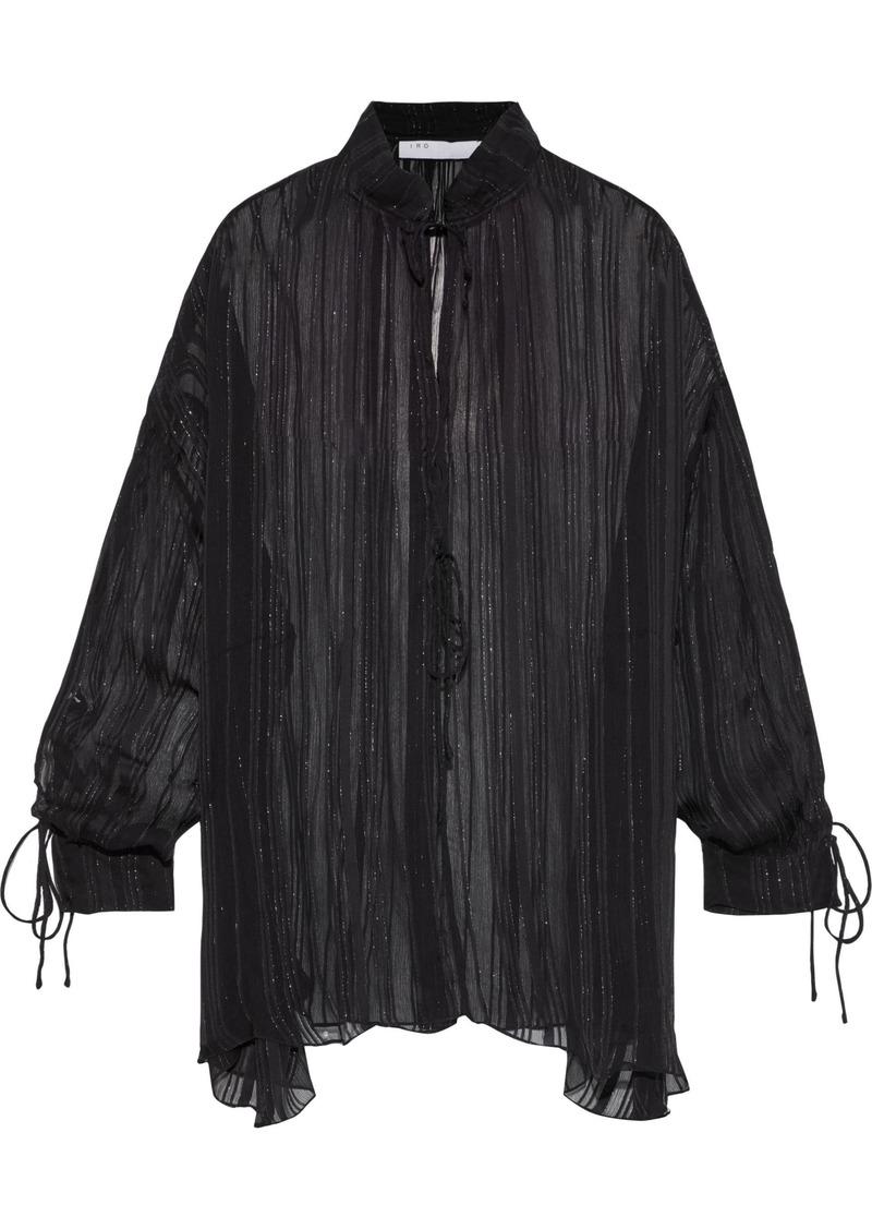 Iro Woman Lace-up Metallic Crinkled-chiffon Blouse Black