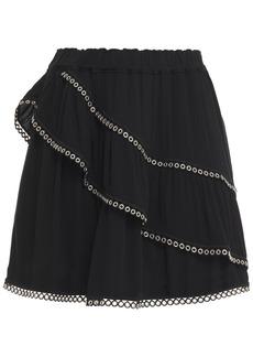 Iro Woman Nisia Eyelet-trimmed Ruffled Crepe Mini Skirt Black