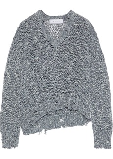 Iro Woman Nisk Distressed Open-knit Sweater Gray