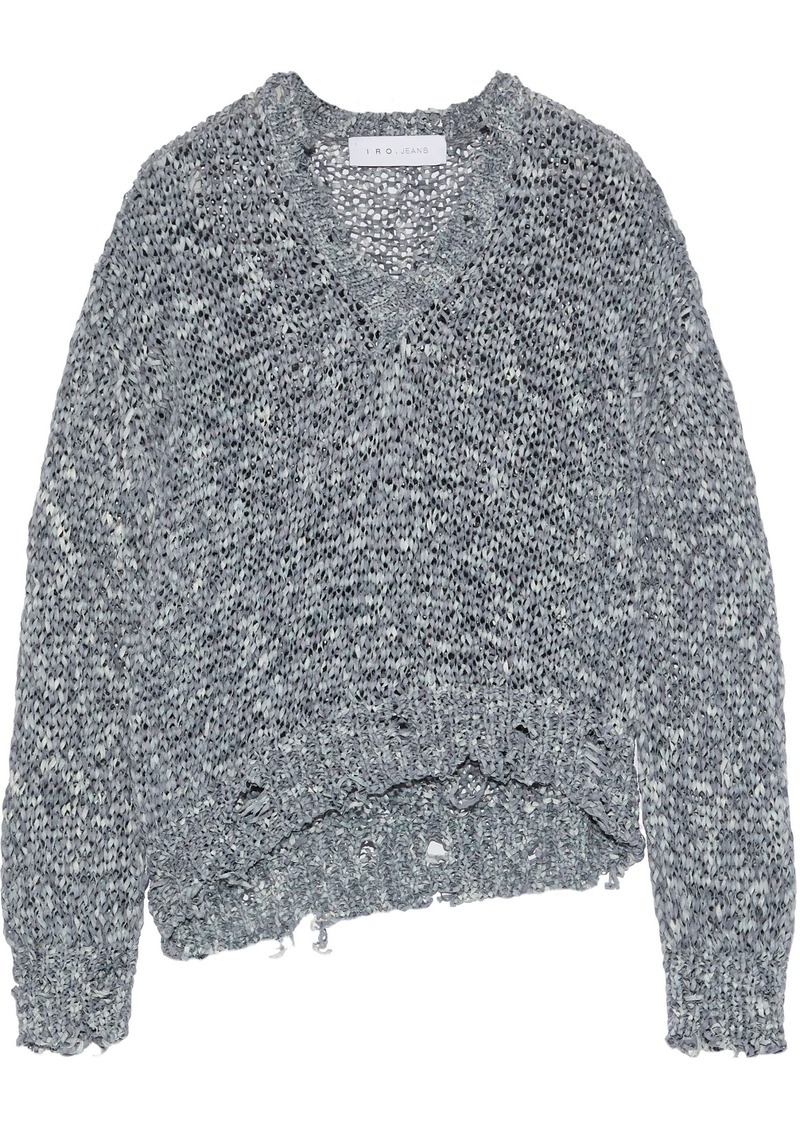 Iro Woman Nisk Distressed Open-knit Sweater Gray