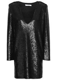 Iro Woman Nobila Sequined Stretch-crepe Mini Dress Black
