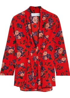 Iro Woman Noun Ruched Floral-print Crepe Top Red