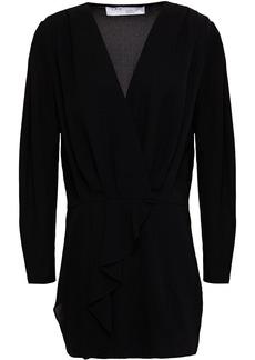 Iro Woman Oak Wrap-effect Drepe Crepe Mini Dress Black