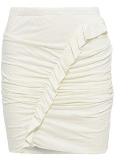 Iro Woman Oda Ruffle-trimmed Ruched Jersey Mini Skirt Ivory