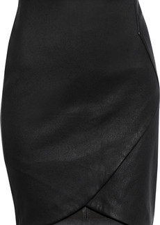 Iro Woman Olbers Wrap-effect Leather Mini Skirt Black
