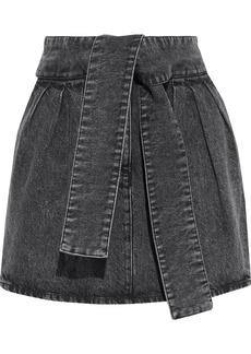 Iro Woman Oleria Belted Acid-wash Denim Mini Skirt Dark Denim
