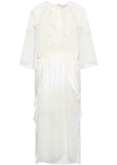 Iro Woman Open-back Ruffle-trimmed Jacquard Midi Dress Ivory