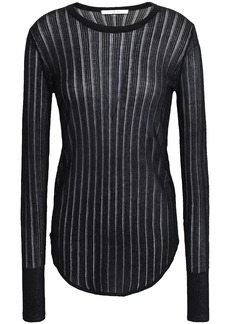 Iro Woman Skogkik Metallic Pointelle-knit Top Black