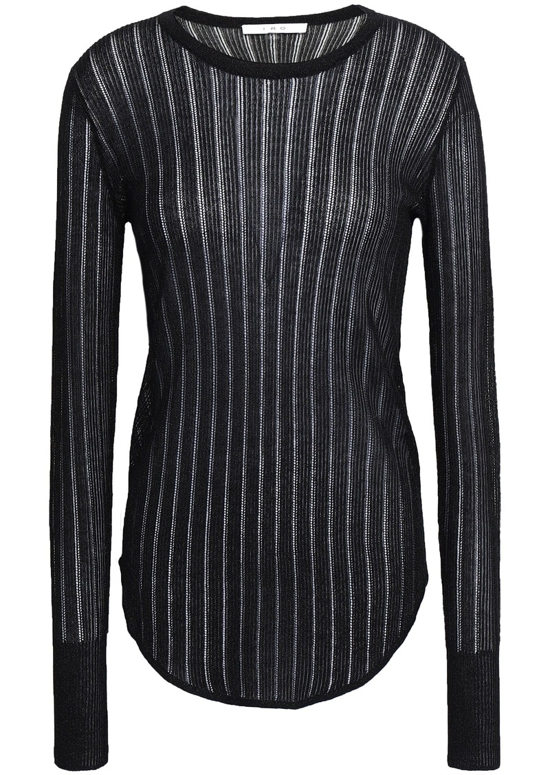 Iro Woman Skogkik Metallic Pointelle-knit Top Black