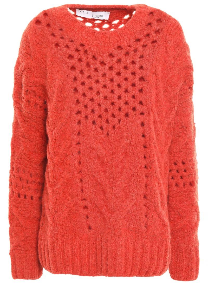 Iro Woman Fordon Open-knit Wool-blend Sweater Brick