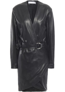 Iro Woman Opening Wrap-effect Belted Stretch-leather Mini Dress Black