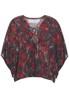 Iro Woman Ops Lace-up Printed Voile Blouse Brick