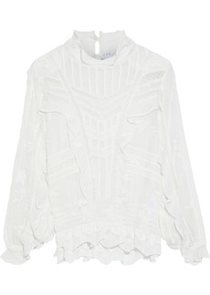 Iro Woman Orrie Crochet-trimmed Ruffled Broderie Anglaise Crepe Blouse Off-white