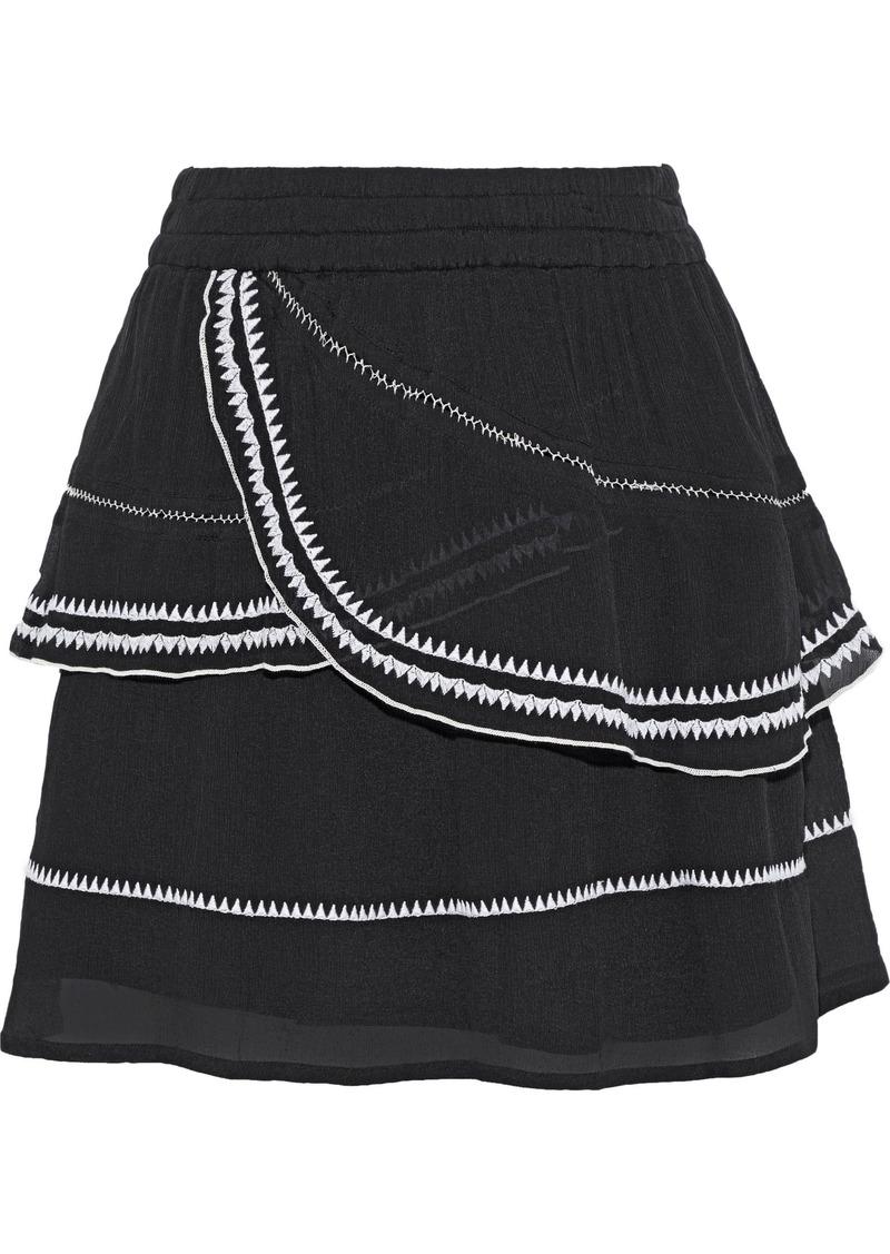 Iro Woman Oviane Layered Embroidered Gauze Mini Skirt Black