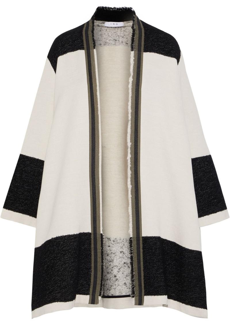 Iro Woman Paneled Bouclé-knit And French Terry Cardigan Black