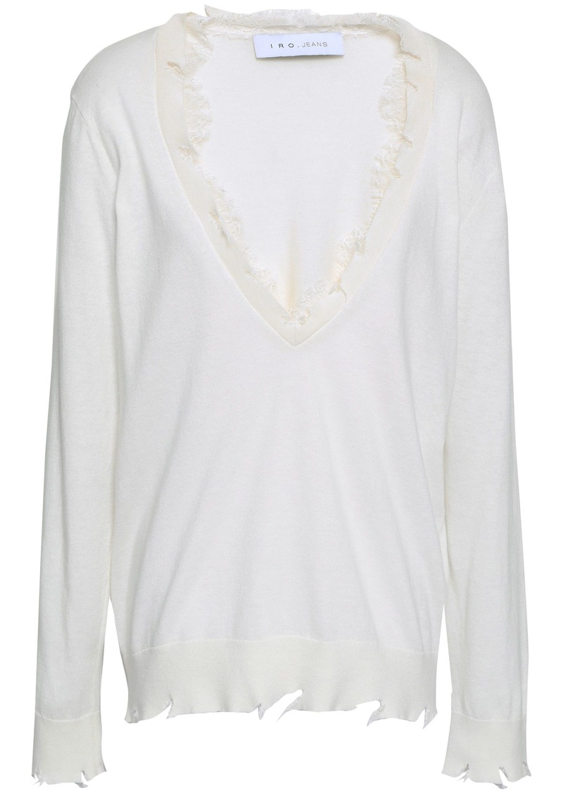 Iro Woman Pao Lace-trimmed Distressed Cotton And Cashmere-blend Sweater Ivory