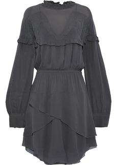Iro Woman Paradiz Layered Broderie Anglaise Georgette Mini Dress Dark Gray