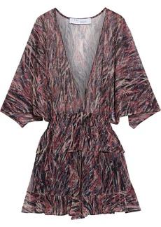 Iro Woman Paronie Printed Lurex Peplum Mini Dress Black
