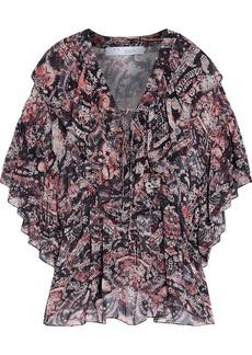 Iro Woman Pasco Lace-up Ruffled Printed Georgette Peplum Blouse Black