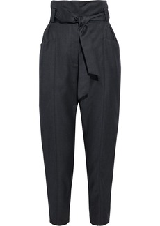 Iro Woman Paxi Belted Pleated Wool-twill Tapered Pants Dark Gray