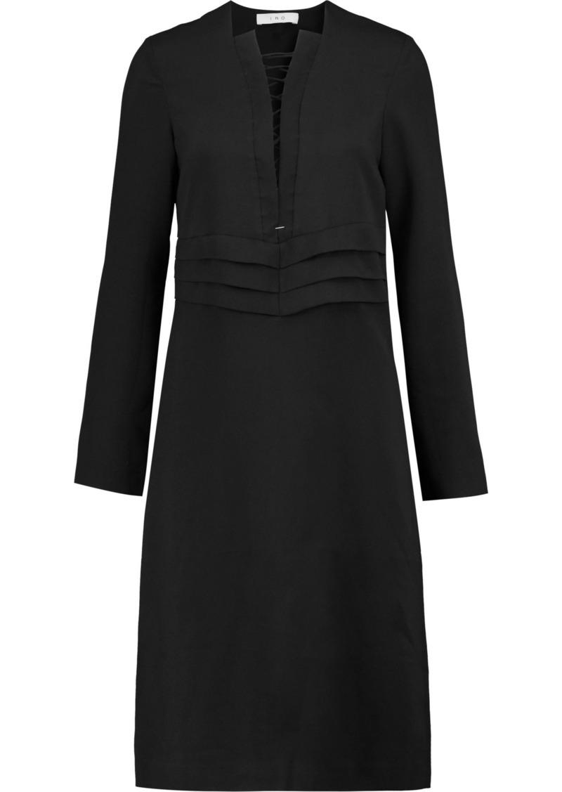 Iro Woman Payda Lace-up Pleated Crepe Dress Black