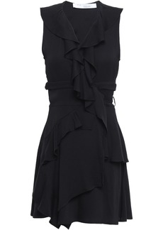Iro Woman People Ruffled Crepe Mini Wrap Dress Black