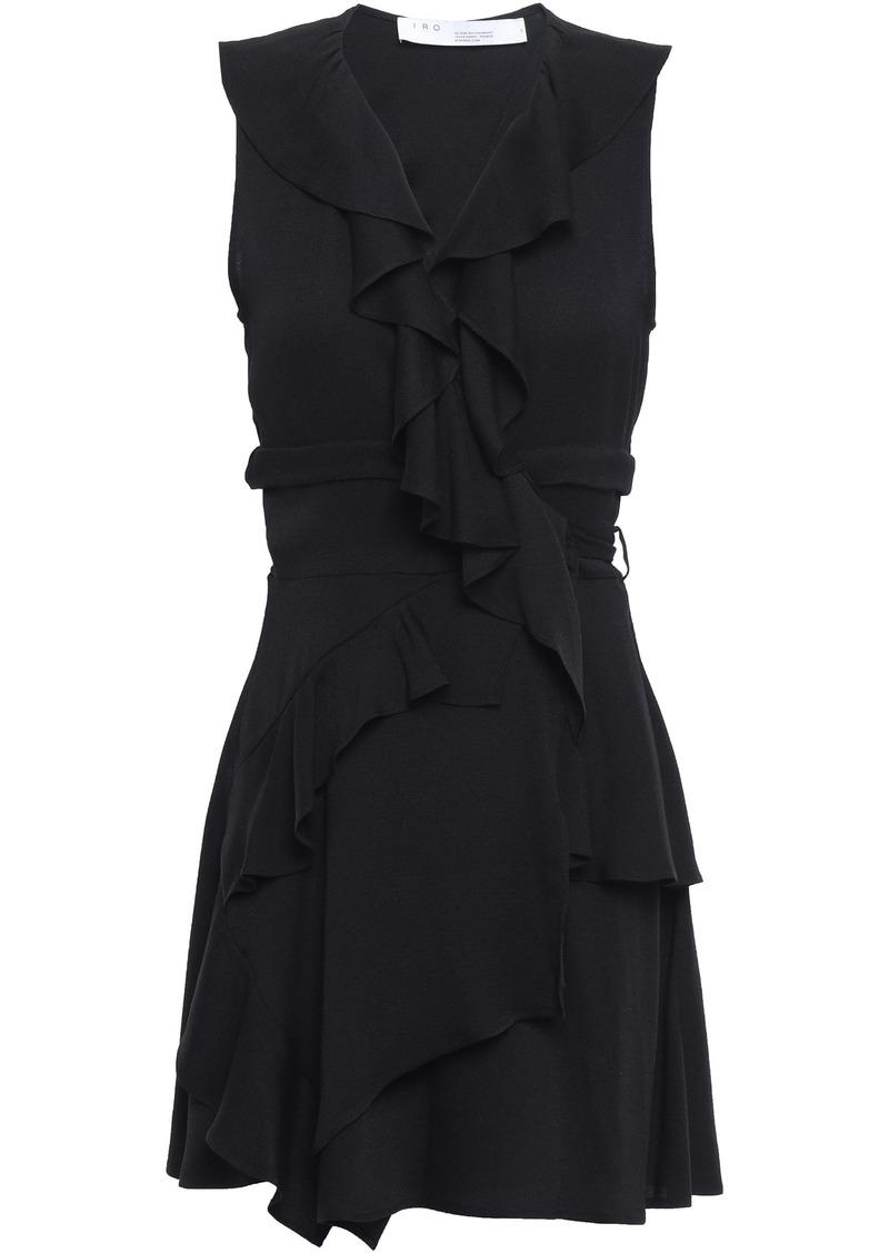 Iro Woman People Ruffled Crepe Mini Wrap Dress Black