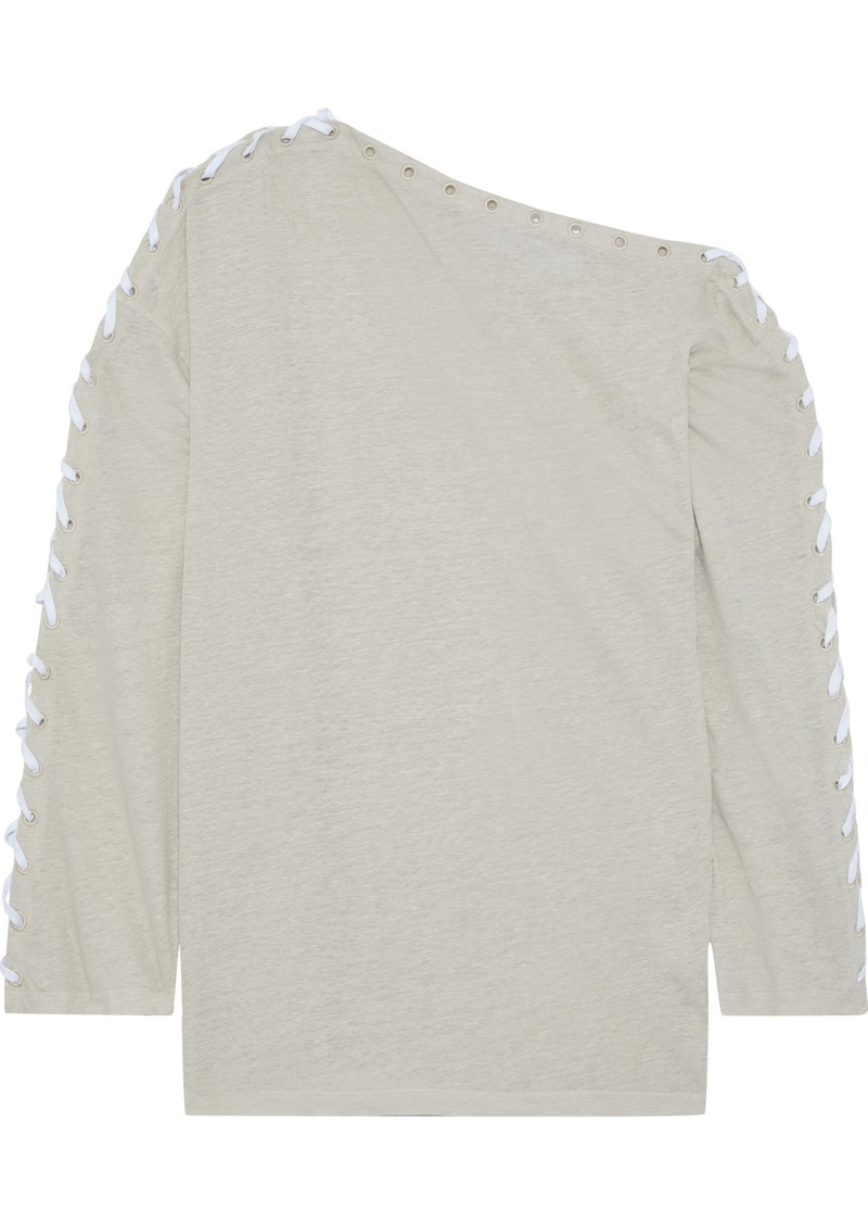 Iro Woman Perpen Off-the-shoulder Lace-up Linen-jersey Top Stone