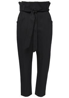 Iro Woman Perplex Cropped Belted Cady Tapered Pants Black