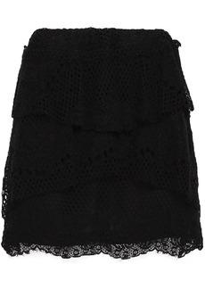 Iro Woman Pixy Tiered Cotton-blend Lace Mini Skirt Black
